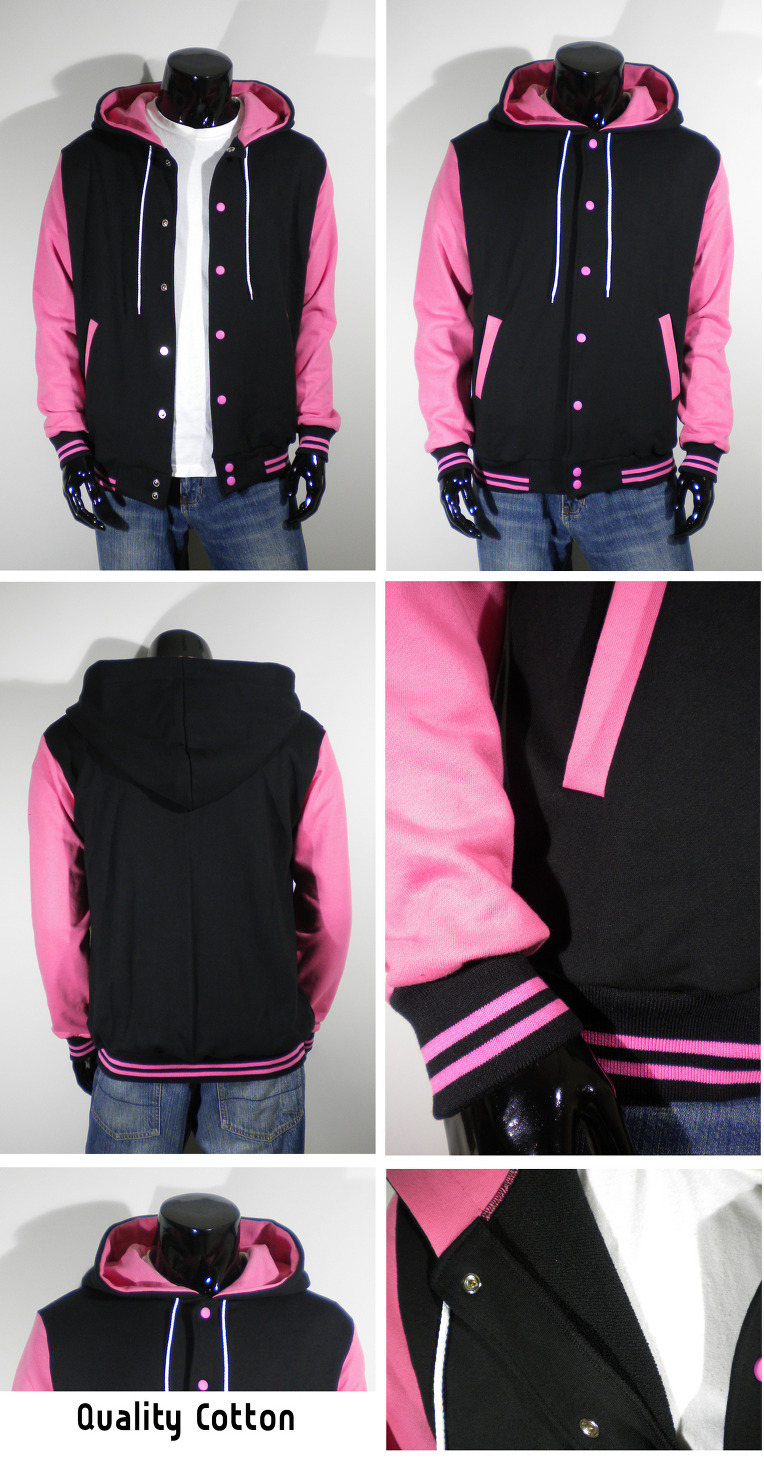 Mens New Varsity Letterman Hoodie Baseball Jacket Sweater S M L XL ...