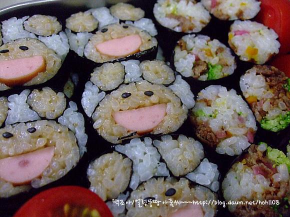 단무지대신 동치미무로~ 꼬마김밥과 곰돌이김밥