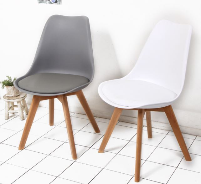 Modern Dining Chairs Plastic Leather Cushion Wood Chair