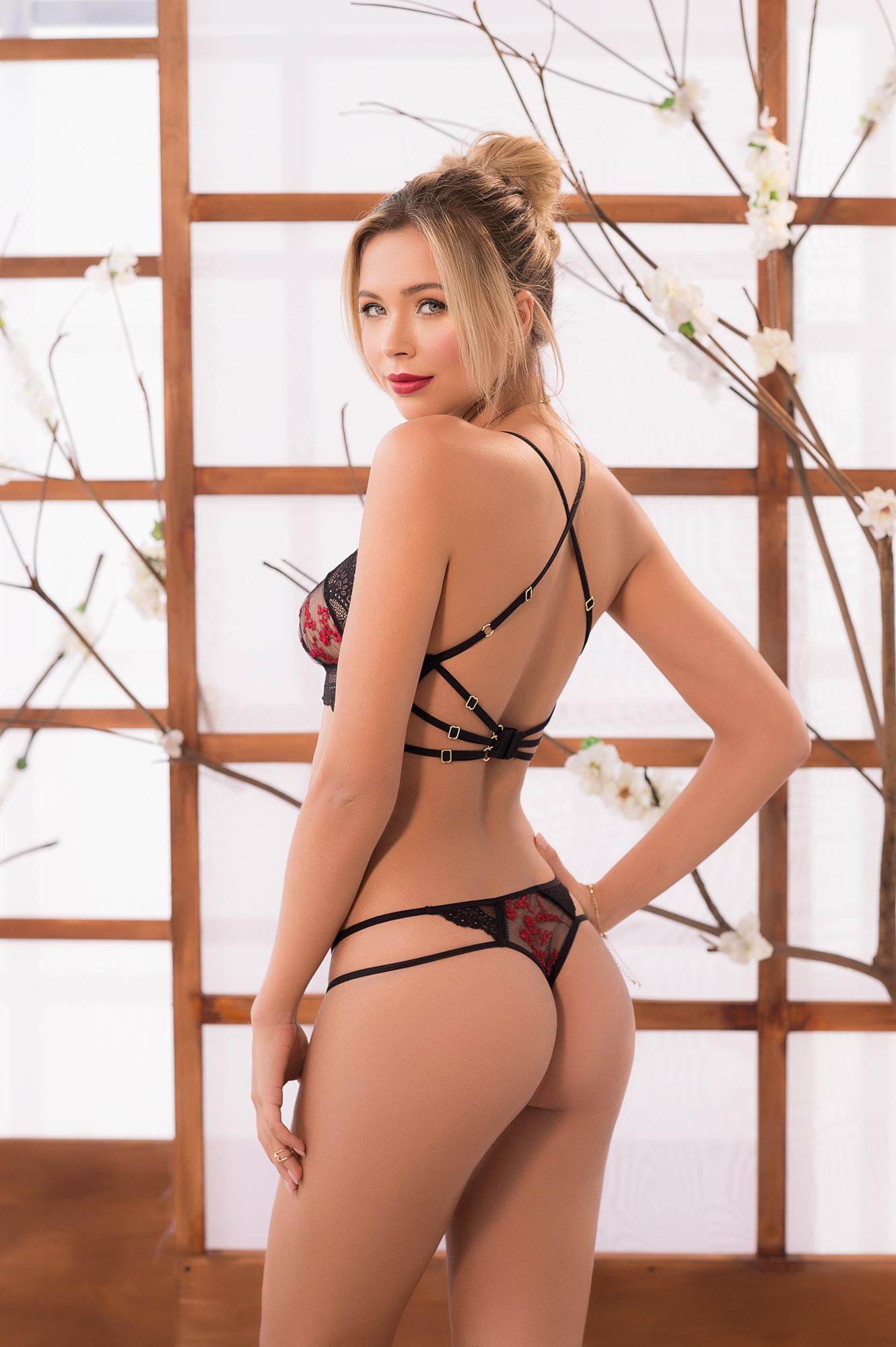 cool lingerie model's back