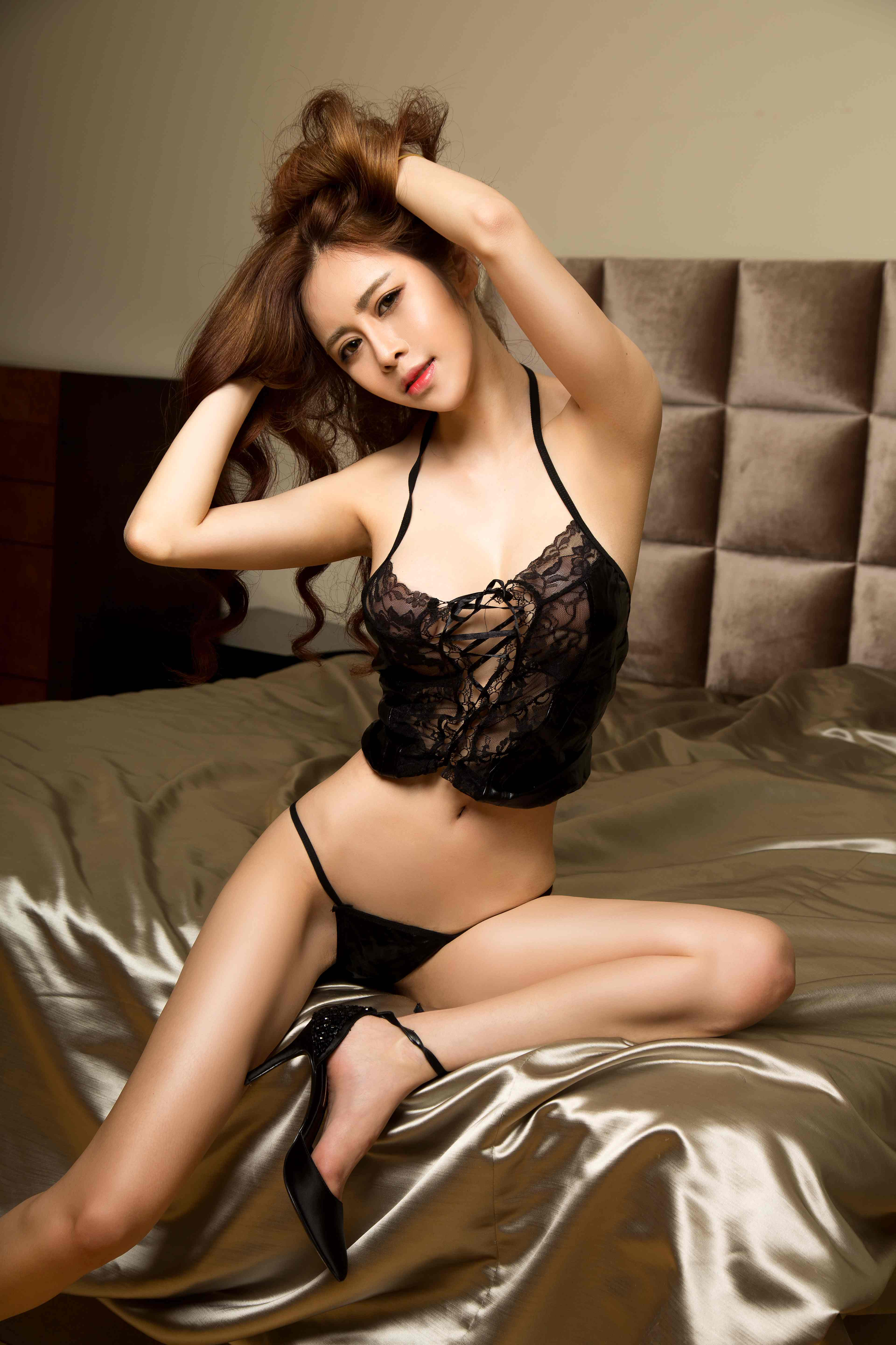 cool Chinese woman in lingerie